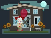 Vector illustration of a scary evil clown with red balloon next. To an old abandoned house . Halloween party. Flat style Royalty Free Stock Images