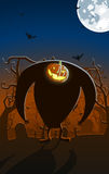Vector illustration of scary Jack-o-lantern man Stock Image