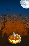 Vector illustration of scary pumpkin on the grave Royalty Free Stock Photo