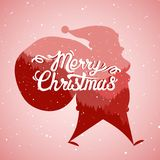 Scene with silhouette of Santa Claus and hand lettering of Merry Christmas. Vector illustration: Scene with silhouette of Santa Claus and hand lettering of royalty free illustration