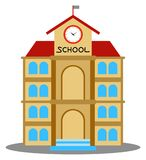 Vector illustration of school building cartoon Royalty Free Stock Photo
