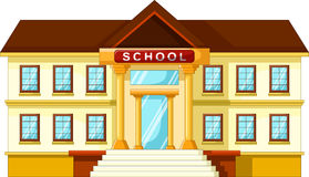 Vector illustration of school building cartoon. Isolated on white background Stock Photos