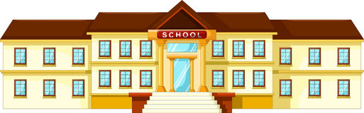 Vector illustration of school building cartoon. Isolated on white background Royalty Free Stock Photo