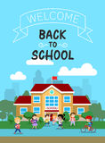 Vector illustration of school building with schoolkids, for poster or banner, etc. Stock Photo