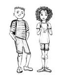 Vector illustration of school children, boy and girl. Hand drawn sketch Stock Photos