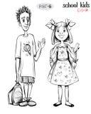 Vector illustration of school children, boy and girl. Stock Photo