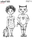 Vector illustration of school children, bully boy and girl. Royalty Free Stock Photography