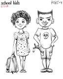 Vector illustration of school children, bully boy and girl. vector illustration