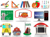 Vector illustration school education icon set Royalty Free Stock Photo