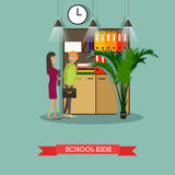Vector illustration of school kids characters in flat style Royalty Free Stock Photos