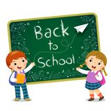 School kids with text of Back to School on the blackboard. Vector illustration of school kids with text of Back to School on the blackboard stock illustration