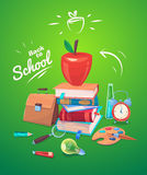 Vector illustration of school objects. On green Stock Photos