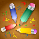 Vector illustration of school pencils Royalty Free Stock Photo
