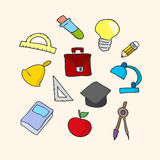 Vector illustration of school set. Hand-drown objects sketch. Sc Royalty Free Stock Image