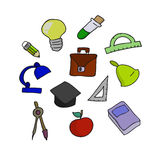Vector illustration of school set. Hand-drown objects sketch. Sc Royalty Free Stock Images
