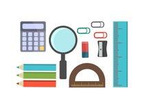 Vector illustration school supplies. Stock Photos