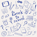 Vector illustration with school supplies. Back to school sketch, hand drawn vector illustration vector illustration