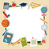Vector illustration of school supplies and tools Stock Photography