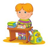 Vector illustration-schoolboy. Sit on the school desk and write Stock Photos