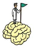 Scientist conquering brain. Vector illustration of scientist conquering brain vector illustration