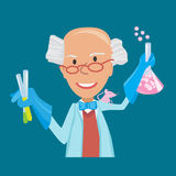 Vector illustration of scientist with testube in flat style on blue background. Vector illustration of Cartoon Scientist doing experiments Stock Images