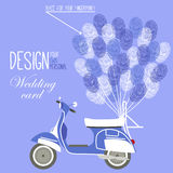 Vector illustration of the scooter and balloon. Variant of design of your wedding card with fingerprint Royalty Free Stock Photography