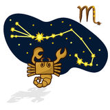 Vector illustration of scorpion in the form of a rectangle. Cartoon Zodiac signs. A schematic arrangement of stars in the constellation Scorpio Royalty Free Stock Photos