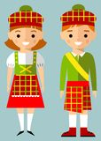 Vector illustration of scot children, boy, girl, people Royalty Free Stock Photo