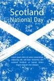 Vector illustration Scotland National Day, Scottish flag in trendy grunge style. 23 June design template for poster, banner, flaye royalty free illustration