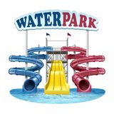 Vector illustration of plastic blue, red and yellow slides with water in pool at water park on white background stock illustration