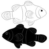 Clown fish silhouette and outline royalty free illustration