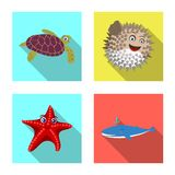 Vector design of sea and animal icon. Set of sea and marine stock vector illustration. royalty free illustration