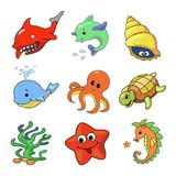 Vector illustration of Sea Animals Collection Royalty Free Stock Photography