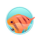 Vector illustration of sea fish and sea in the circle Stock Image