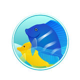 Vector illustration of sea fish and sea in the circle. For logos, icons, design elements for your creativity Stock Images