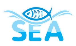 Sea and fish symbol Royalty Free Stock Image