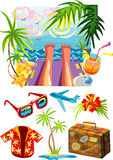 Vector illustration of sea holiday and bunch of tr Royalty Free Stock Photos