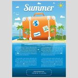 Vector Illustration of travel suitcase on the sea island. Vector Illustration of the sea island beach background with travel suitcase and word SUMMER. Brochure Royalty Free Stock Images