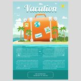Vector Illustration of travel suitcase on the sea island. Vector Illustration of the sea island beach background with travel suitcase and word SUMMER. Brochure Stock Images