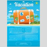 Vector Illustration of travel suitcase on the sea island. Vector Illustration of the sea island beach background with travel suitcase and word Vacation. Brochure Stock Photos