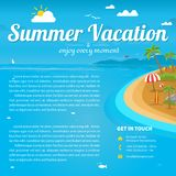 Vector Illustration of the sea island beach background. With words Summer Vacation. Brochure design template Stock Photography