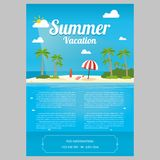 Vector Illustration of the sea island beach background. With words VACATION / Summer Vacation Stock Image