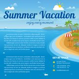 Vector Illustration of the sea island beach background. With words Summer Vacation. Brochure design template Stock Photo
