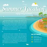 Vector Illustration of the sea island beach background. With words Summer Vacation. Brochure design template Royalty Free Stock Images