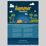 Vector Illustration of the sea island beach background. With words VACATION / Summer Vacation Vector Illustration