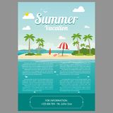 Vector Illustration of the sea island beach background. With words VACATION/Summer Vacation Stock Photography