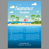 Vector Illustration of the sea island beach background. With words VACATION/Summer Vacation Royalty Free Stock Photo