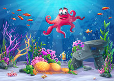 Vector illustration of sea landscape with octopus Stock Photos