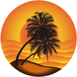 Vector illustration a sea landscape with a palm tr Royalty Free Stock Photography