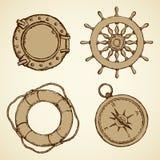 Vector illustration of sea ship supplies Stock Photography